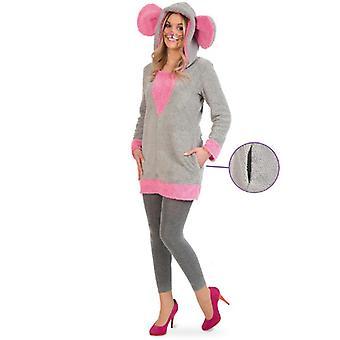Pink Mouse Tunika Kvinders Kostume Gnaver Ladies Kostume