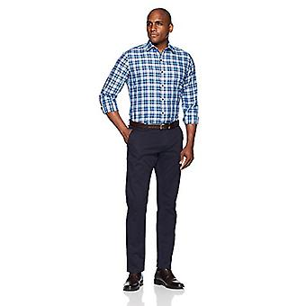 "BUTTONED DOWN Men's Slim Fit Supima Cotton Spread-Collar Dress Casual Shirt, Large Navy/Bright Blue Check, 14-14.5"" Neck 32-33"" Sleeve"