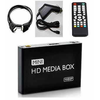1080P MINI Media Player for Car HDD MultiMedia Video Player Media Box with Car Adapter HDMI AV USB SD/MMC HDD  (Black)