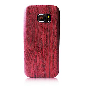 Hard Plastic Shell for Samsung Galaxy J7 (2016) Mobile Shockproof Hard-Plastic Wood Red
