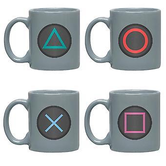 Sony Playstation Espresso -tassen-Set Buttons grau, bedruckt, 4er-Set, 100 % Keramik, in Geschenkverpackung.