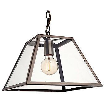 1 Light Ceiling Pendant Antique Brass, Clear Glass, E27