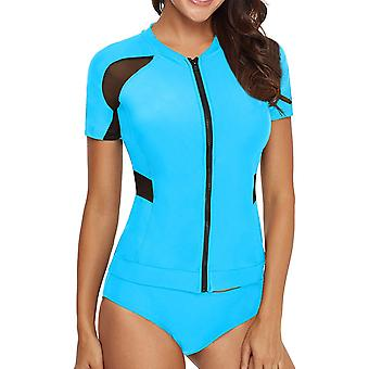 AnnJo Women 2 Piece Black Mesh Long Sleeve Zip Front Quicksilver Surf Rashgua...