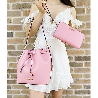 Michael kors eden md bucket shoulder bag carnation pink + double zip wristlet