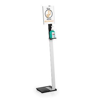 Duurzame 589223 Desinfectiedispenser met A4 informatiebord, vrij verstelbaar, flexibele afstelling, aluminium