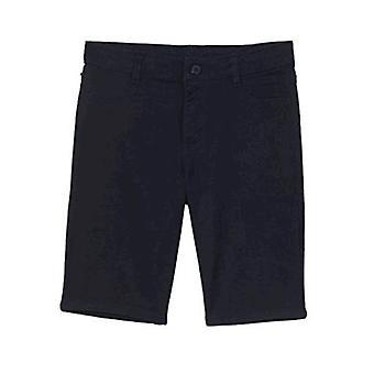 Nautica Girls' Big School Uniform 5-Pocket Twill Bermuda Short, Navy/Sateen, 16