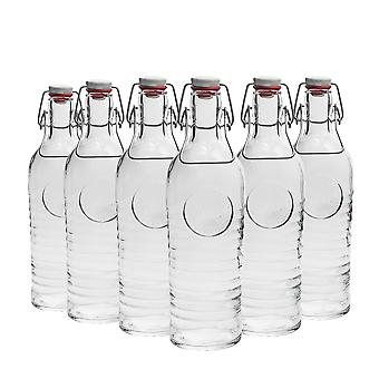 Bormioli Rocco Officina 1825 Table Serving Water Bottle Set with Swing Top Lid - 1.2 Litre - Pack of 6