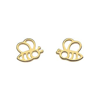 Dew Silver Honey Bee Yourself Gold Plate Bee Stud Boucles d'oreilles 4466GD015