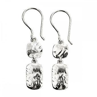 Anfänge Sterling Silber Doppel Tropfen gehämmert Ohrringe E5773