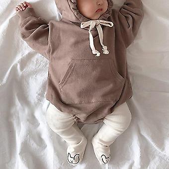 Baby Bodysuits Little Bear Ører Fløjl Hoody Bodysuit