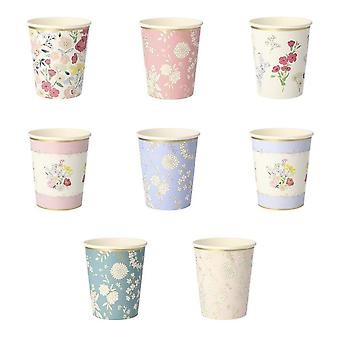 Meri Meri English Garden Paper Party Cups Wedding / Afternoon Tea Party x 8