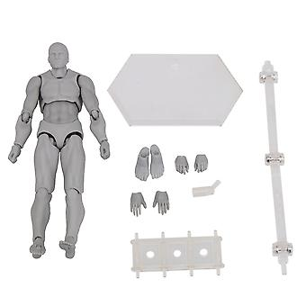Plastic Action Figure Model Human Mannequin Man Painting Props Gray
