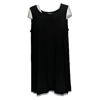 Women with Control Women's Top Como Jersey Tunic w/ Tank Black A353138