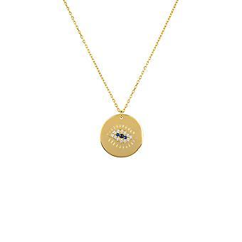 Ojo pulido disco colgante collar oro encanto pequeño 925 cadena de regalo gemstone