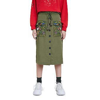 Desigual Byron Midi Skirt Khaki Embroidered Button Front 20WWFW05