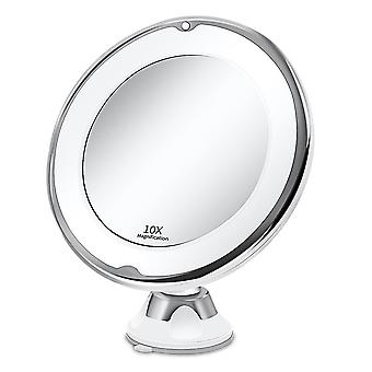 Portable 10x magnifying makeup vanity mirror with led light