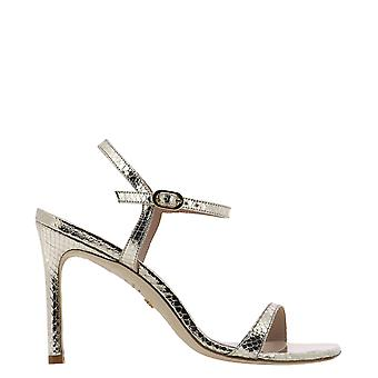 Stuart Weitzman Alonza95prntmetsnakeplatino Women's Gold Leather Sandals