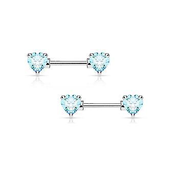 """Pair of double heart gem nipple rings shields barbells 14 gauge 1/2"""" - 4 colors"""