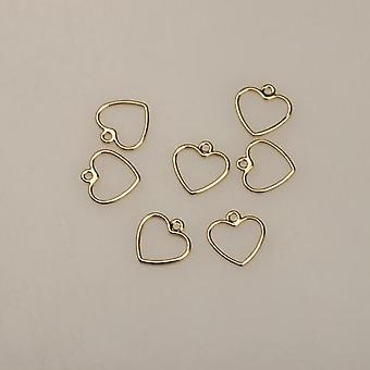 20pcs Mini Sweet Hollow Love Heart Shape Charms For Diy Brincos Jewely Making