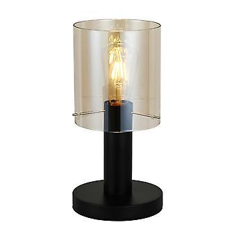 Lámpara de mesa moderna negro 1 luz con sombra ámbar, E27