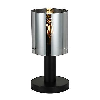 Moderni pöytävalaisin Musta 1 valo savuisella sävyllä, E27
