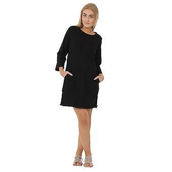 Black denim dress with raw hem 3/4 sleeve jean dress front pockets