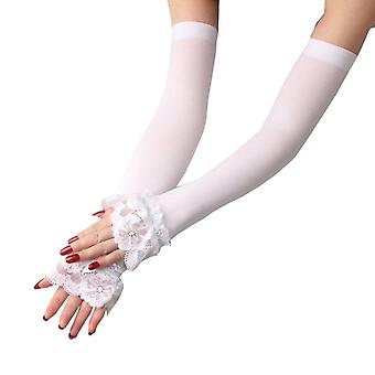 Elastic Sleeve Driving Gloves Long Fingerless Ice Silk Arm Mittens Summer