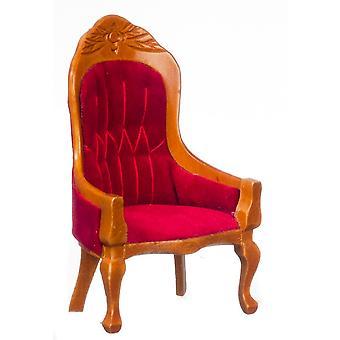 Panenky Dům miniaturní nábytek viktoriánské červené a ořechové genty salon židle