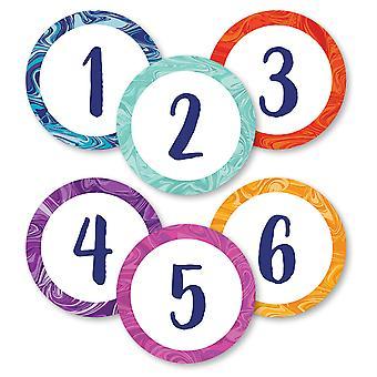 Marmor Wirbel Zahlen magnetische Ausschnitte, Packung mit 36