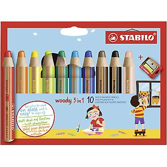 Multi-talented pencil stabilo woody 3-in-1 wallet of 10 assorted colours + sharpener wallet (inc sha