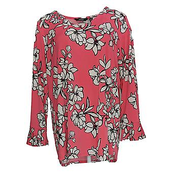 Dennis Basso Women's Plus Top Printed Crepe Flounce Sleeves Pink A349300