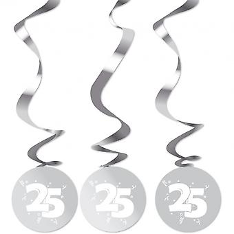 Party decorations Silver 25 Years 75 Cm 3 Pieces