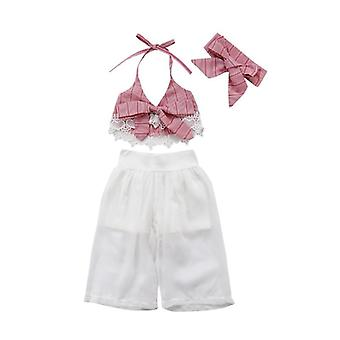 Girls Clothes Set, Baby Summer Sleeveless Lace Bow Crop V-neck Tops, Pants &
