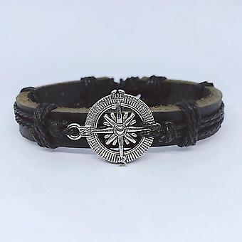 Ręcznie robiona bransoletka z autentycznego brązowego kompasu męskiego metalu