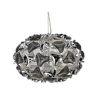 Lámpara Colgante Con 3 Bombillas Driehoeken, En Cromo, Aluminio Y Acrílico.