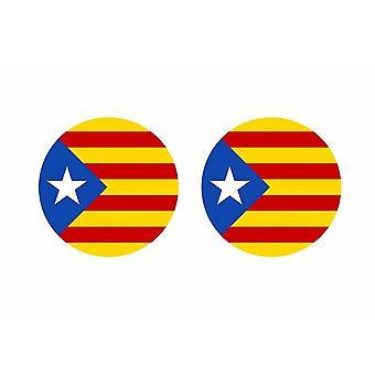 2x stick sticker round cocarde Catalan flag independent catalog