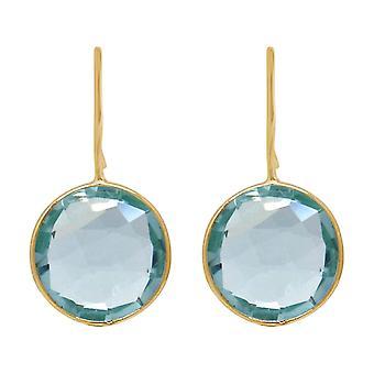 Gemshine oorbellen blauwe aquamarijn kwarts edelstenen. 925 Zilver, verguld, roos