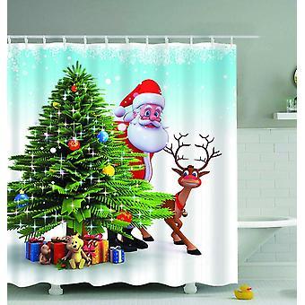 Santa ja poro hiipiä ulos suihku verho