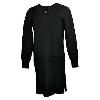 Nina Leonard Women's Sweater Jacquard Open Cardigan Pockets Black 729837