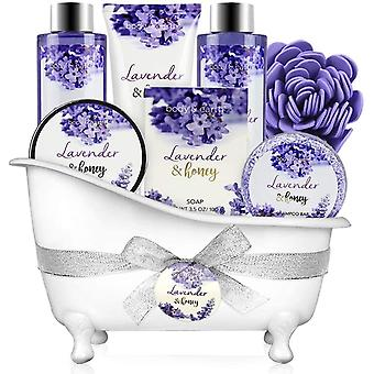 Bath and Body Gift Set - 8 Pcs Gifts for Mum Spa Sets with Lavender & Honey Scent, Includes