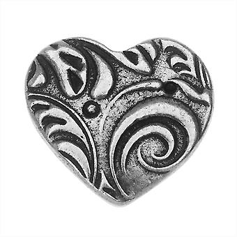 TierraCast Button, Amor Heart 14x15.5mm, 1 Stuk, Antieke Tin
