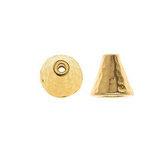 TierraCast 22K Vergulde Tin Gehamerde Cone Kraal Caps 8mm (x2)