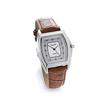 A&W - Montre-bracelet femme avec cadran en nacre et bracelet en similicuir brun