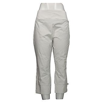 Susan Graver Kvinders Petite Pants Premium Stretch Crop W / Trim Hvid A374112