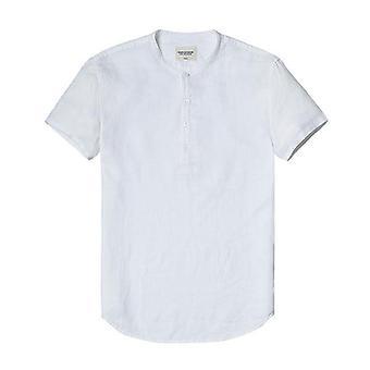 100%リネンホワイトソリッドカラースリムフィットメンシャツ
