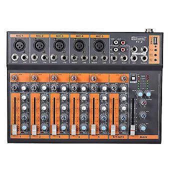 Tragbare 7-Kanal-Mikrofon-Line-Audio-Mixer Mischpult 3-Band eq USB-Schnittstelle 48v Phantomspeisung