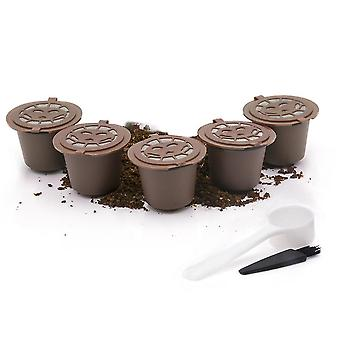 Brown 5 pcs reusable coffee pods refillable coffee capsules with spoon and brush cai816