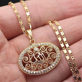 Chaîne plaquée or 18 carats Allah Muslim m cristal soleil ovale Islam