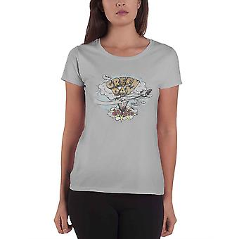 Green Day T Shirt Vintage Dookie Band Logo new Official Womens Skinny Fit Grey