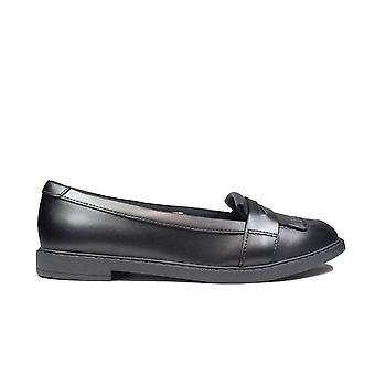 Clarks Scala Bright Youth Black Leather Girls Loafer School Shoes